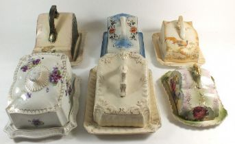 Six Victorian cheese dishes with covers
