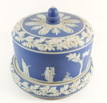 A 19th century Jasperware cheese stand and cover, approx 19cm high