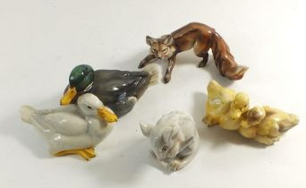 A Tay group of two ducks, a pair of ducklings, a fox and a mouse by Guiseppe Tagliariol