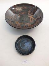 A studio pottery bowl and a Minehead pottery bowl