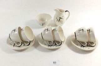 A Royal Doulton vintage Bamboo coffee set comprising: six cups and saucers, jug and sugar bowl