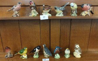 A collection of thirteen Beswick birds