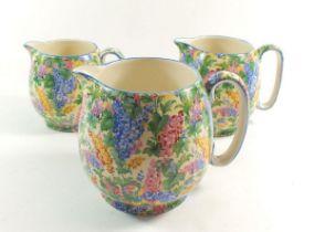 A Royal Winton set of three graduated chintz jugs 'Somerset'