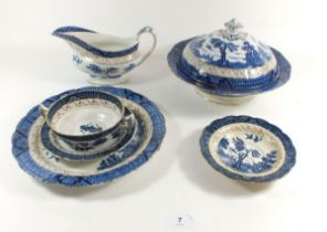 A group of Booths 'Real Old Willow' dinner ware comprising: thirteen dinner plates, two tureens, two