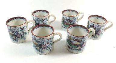 A set of six Victorian ironstone mugs with chinoiserie decoration