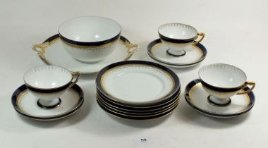 A Rosenthal blue and gilt part tea service comprising: three cups and six saucers, six tea plates