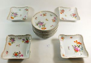An early 20th century Rosenthal floral dessert service in the Dresden style comprising: four