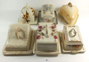 Six Victorian and Edwardian cheese dishes with covers