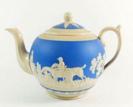 A Copeland Spode teapot in Jasperware style decorated hunting scene