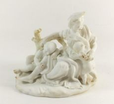 A bisque porcelain group of classical women and two children, 16 x 14cm