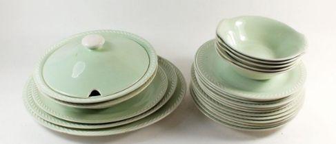 A 'Figgjo and Flint' Norwegian mint green 1950's dinner service comprising: six dinner plates, six