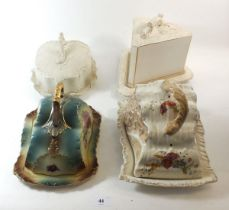 Four large Victorian cheese dishes with covers