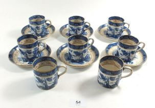 A Booths 'Old Willow' coffee set comprising: eight cups and six saucers