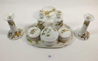 A Limoges dressing table set, printed apples