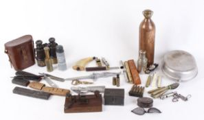 Mixed militaria to include leather cased binoculars, copper and brass water flask, mess tin and