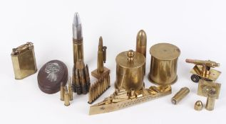 Trench art to include WW1 German brass shell cases, lighters, crucifix, inert rounds, together