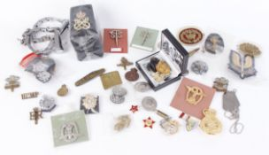 Mixed replica cap badges, patches, key rings with quantity of RN Petty Officer shoulder slides,