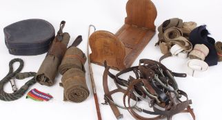 Pair military overtrousers in leather frog; quantity miscellaneous bindings and spurs; braided