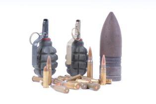 Two Soviet grenades and quantity of various rifle cartridges (all inert); 3lb British artillery proj