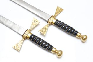 A pair of ceremonial or presentation swords in the Masonic rose croix style by Wilkinson Sword, each