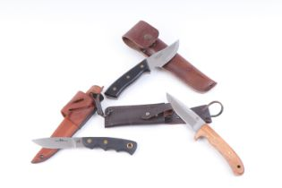 Three various sheath knives incl. RWS, Eriksson of Sweden, and Alpha Wolf of Alaska