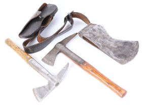 Steel axe head by Elwell No.6, 10¼ ins blade, no. 579136, together with a military pickaxe by Elwell