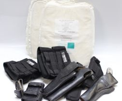Five U.S. ballistic protective panels, NIJ level 2 & 3A, together with a selection of various holste