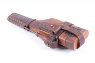 The detachable stock for a C96 Broomhandle Mauser, in leather holster stamped A.P.H. HOFFMANN BERLIN