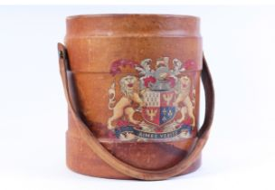 Leather powder carrier with French armorial decoration