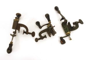 Three 12 bore bench roll turn over tools