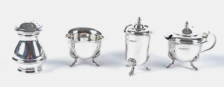 A George VI hallmarked three piece silver Birmingham cruet set, together with another pepper pot,