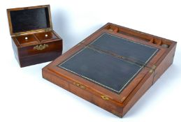 A Victorian brass mounted mahogany writing slope, with black tooled interior and associated