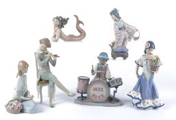 Six Spanish Lladro porcelain figures, the Jazz Band, 19cm x 18.5cm, the base with printed numerals