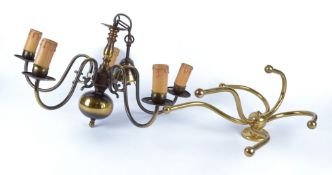 A six branch brass coat hook, 39cm x 31cm, together with a five branch brass effect electrolier,
