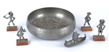 An Eik Tinn of Norway repousse work bowl with foliate decoration, diameter 24cm, together with a