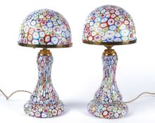 A pair of mid 20th Century Italian Murano millefiore glass lamp bases, on integral spreading