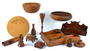 A small collection of assorted treen, to include an ebonised tray, 30cm x 18cm, a mahogany letter