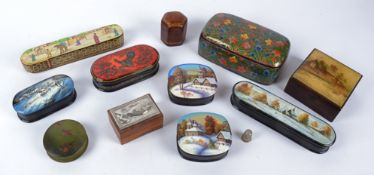 A small group of lacquered wood pots, to include Russian Winter scenic examples, one with a