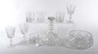 A quantity of contemporary glasses of various assorted shapes, to include dumpy tumblers, cut