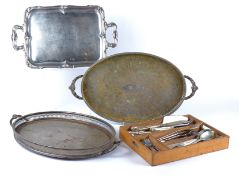 Three 20th Century twin handled silver plated trays, the largest 56cm x 31cm, together with an