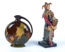 A Royal Doulton figure of a Jester, HN1702, height 26.5cm, together with a Royal Doulton pottery
