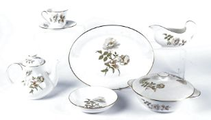 A Royal Doulton part dinner service in the 'Yorkshire Rose' pattern, to include dinner plates,