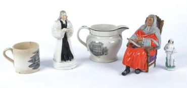 Two pieces of Georgian and later Staffordshire pottery relating to the Methodist preacher John