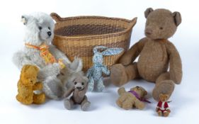 Six contemporary teddy bears, one a British 'Bear Loom by Meggie' height 34cm and a cloth rabbit, in