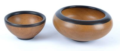 Paul Swan (Contemporary British) two 'Two Oaks' turned wood bowls, the largest diameter 19cm and the