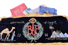 A selection of WWII period Royal Air Force silks, all with embraided design, including handkerchiefs