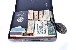 A WWII 3rd 45 Indian First Aid kit, marked with original stencilling to the top, and marked with a