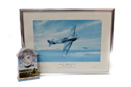 A Contemporary Spitfire ceramic mantle clock, titled 'Heroes of the Sky' by Michael Turner, with