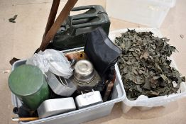An assortment of various items, to include an Air Ministry axe, various canteens, a military stamped