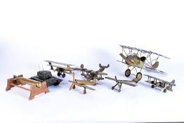 A selection of mixed metal aircraft and other models, including bi-planes, British and a German